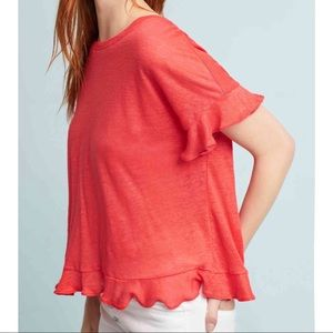 Anthropologie Sz M Ruffle Crossback Top Eri + Ali